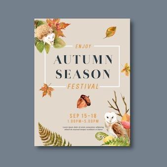 Cartaz temático de outono com plantas