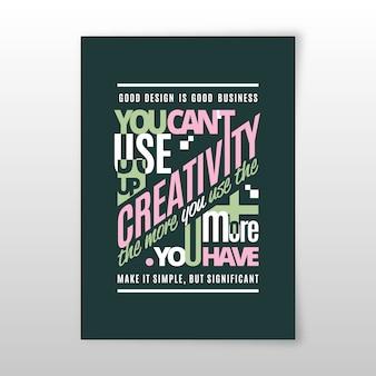 Cartaz tipográfico de citações de design famoso