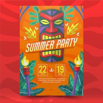 Cartaz tribal de festa de verão