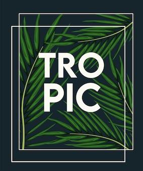 Cartaz tropical com folhas verdes