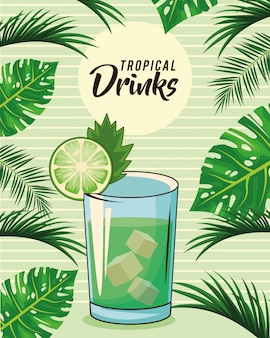 Cartaz tropical da bebida do cocktail