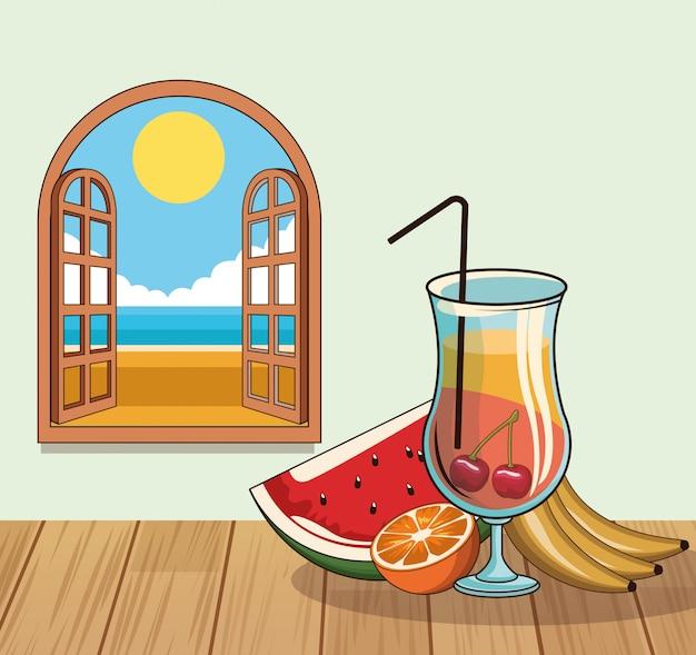 Cartaz tropical da bebida do cocktail