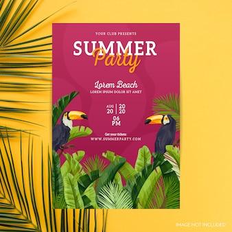 Cartaz tropical do partido do verão