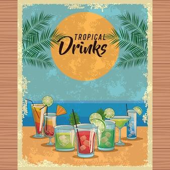 Cartaz tropical dos cocktail