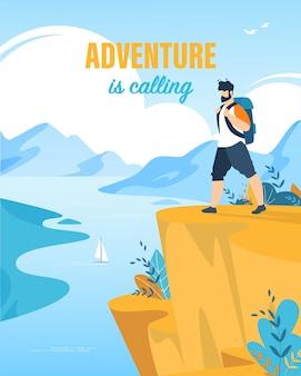 Cartaz turístico inscrição aventura está chamando