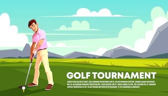 Cartaz, um banner de um torneio de golfe. Homem jogando na grama verde.