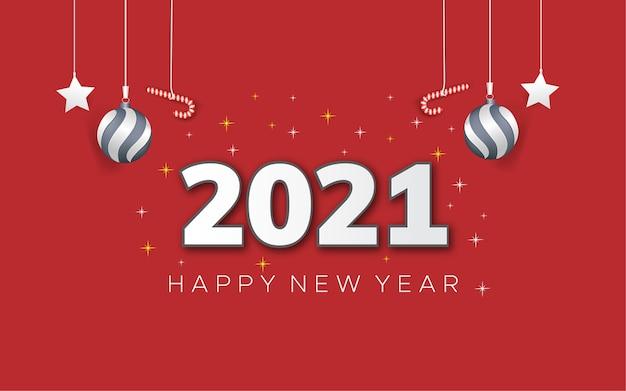 Cartaz vermelho de feliz ano novo de 2021 com luzes de natal