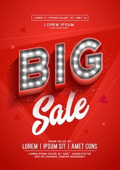 Cartaz vermelho grande venda ou design de folheto. banner de letreiro luminoso retrô com lâmpadas brilhantes.