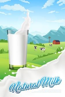 Cartaz vertical com copo de leite e fazenda