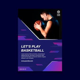 Cartaz vertical com jogador de basquete masculino