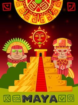 Cartaz vertical da civilização maia com rabiscos de ídolos maias