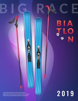 Cartaz vertical de biatlo realista roxo colorido grande título e esqui de biatlo