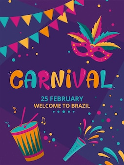 Cartaz vertical de carnaval com fundo escuro