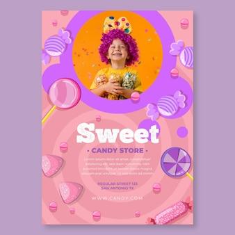 Cartaz vertical de doces com criança
