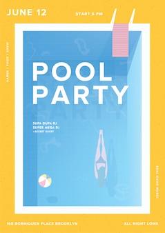 Cartaz vertical de festa na piscina. cartaz de evento de verão ao ar livre. ilustração colorida.