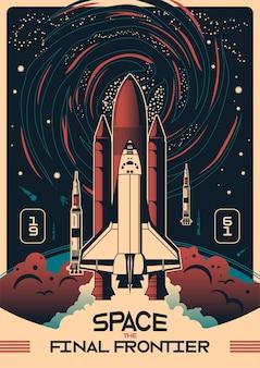Cartaz vertical do espaço com foguetes no fundo do céu noturno e texto de data de 1961