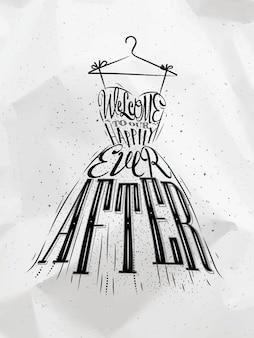 Cartaz vestido de noiva letras