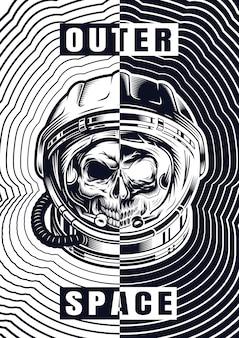 Cartaz vintage crânio monocromático