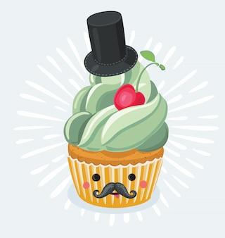 Cartaz vintage de cupcake do dia dos pais