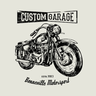 Cartaz vintage movido a mão da motocicleta