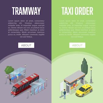 Cartazes 3d isométricos de estação de táxi e bonde