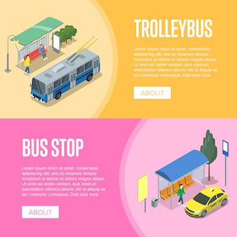 Cartazes 3d isométricos de trólebus e ônibus