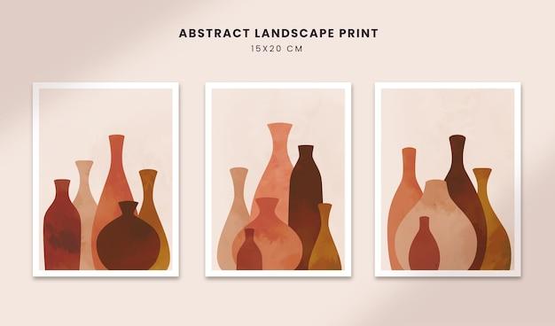 Cartazes abstratos arte mão desenhada formas capas com pote de boho