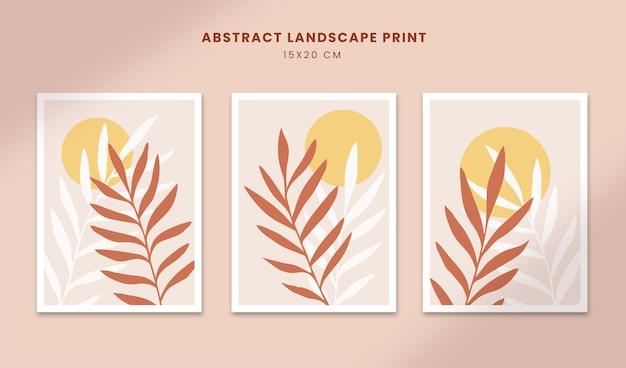Cartazes abstratos botânicos arte formas desenhadas à mão capas com sol boho