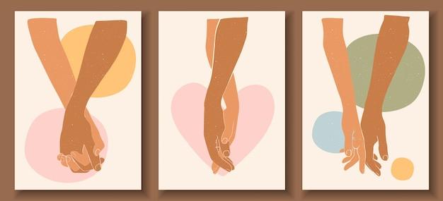 Cartazes abstratos com as mãos. homem segurando a mão de uma mulher em tons pastel. coleção de pôsteres de arte contemporânea.