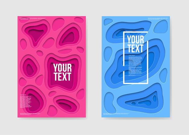 Cartazes abstratos com corte de papel em camadas rosa azul