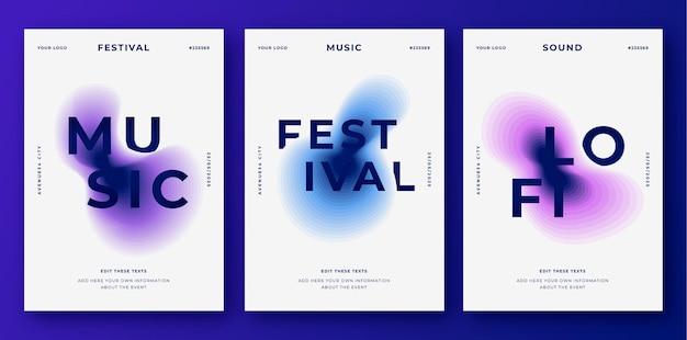 Cartazes abstratos de festivais de música com formas topográficas coloridas