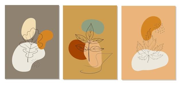 Cartazes abstratos de outono em fundo colorido Vetor Premium