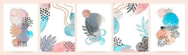 Cartazes abstratos em aquarela. arte minimalista com formas de pintura. respingos de arte, manchas e pinceladas. impressões vetoriais de pintados à mão. respingo de padrão minimalista, ilustração pintada de pôster de acrílico