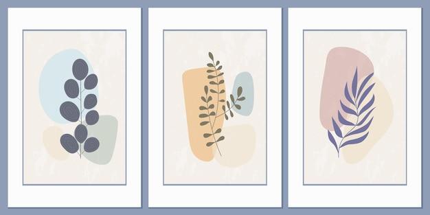 Cartazes abstratos modernos com formas geométricas mínimas e elementos florais botânicos