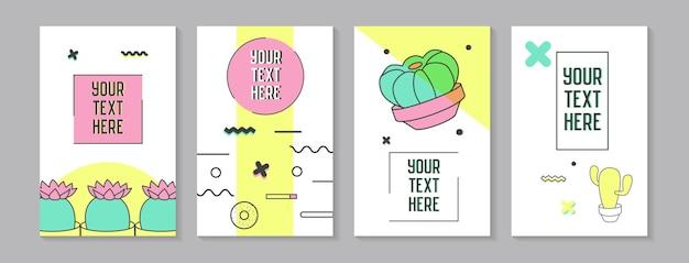 Cartazes abstratos na moda em estilo memphis com formas geométricas e cactos. padrões de elementos minimalistas, banners, convites. ilustração vetorial
