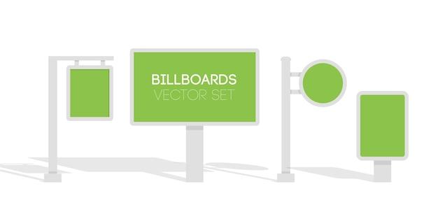 Cartazes, anúncios publicitários, cartazes luminosos da cidade. ilustração em vetor 3d plana para infográfico.
