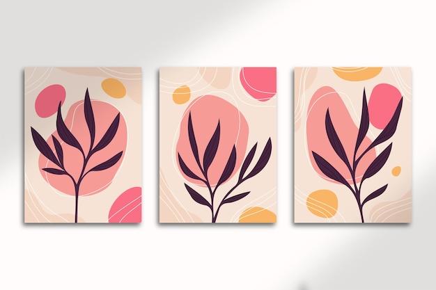 Cartazes botânicos abstratos com formas de arte desenhada à mão e capas com lindos fluido vermelho e folhas