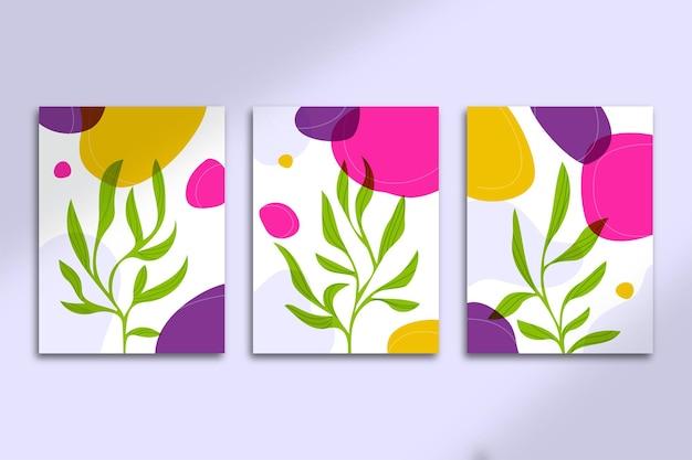 Cartazes botânicos abstratos com formas desenhadas à mão e capas com lindos fluidos coloridos e folhas