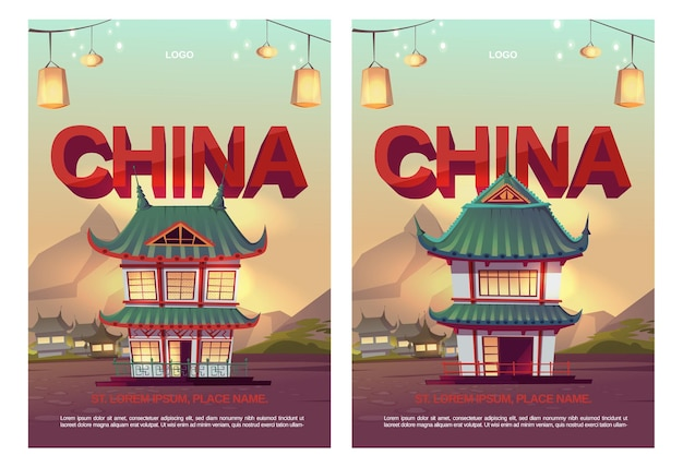 Cartazes chineses com casas tradicionais asiáticas