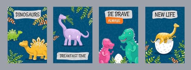 Cartazes coloridos com dinossauros engraçados