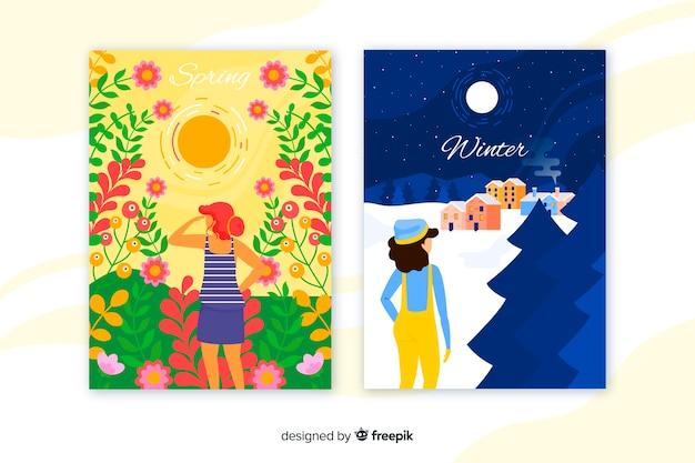 Cartazes coloridos de inverno e primavera