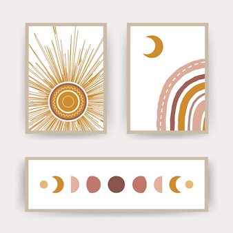 Cartazes com arco-íris abstrato, lua e sol. ilustrações geométricas contemporâneas para impressão.