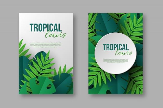 Cartazes com folhas de palmeira tropical selva exóticas.