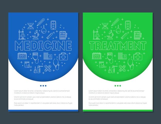 Cartazes com ícones de medicina e linha de tratamento cuidados de saúde primeiros socorros e serviços médicos de terapia