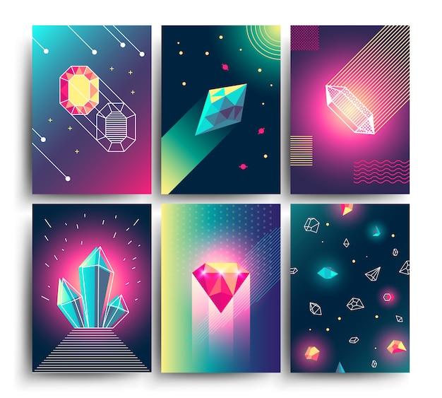 Cartazes cósmicos do vetor na moda abstrato com gemas de cristal e formas geométricas da pirâmide. origens da galáxia de néon no estilo dos anos 80
