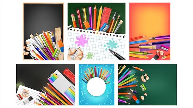 Cartazes criativos coleção venda escola definir vetor. régua e borracha, lápis e canetas de cores diferentes, apontador e pincel para alunos, equipamento escolar. layout de conceito ilustrações 3d realistas