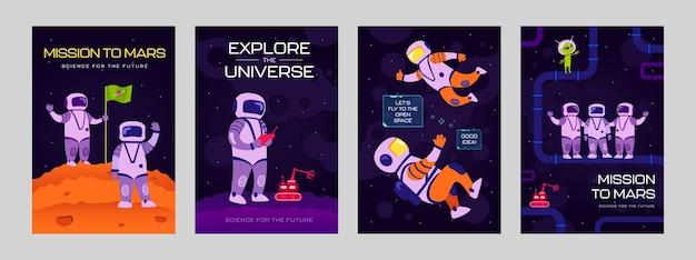 Cartazes da moda com astronautas