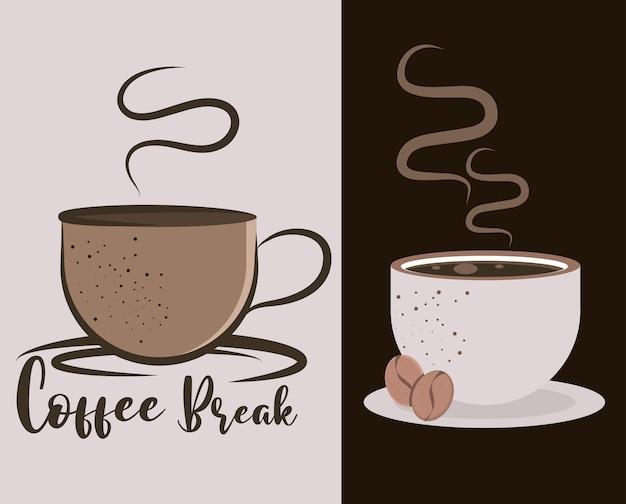 Cartazes da pausa para o café