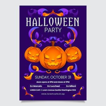 Cartazes de abóbora de halloween de design plano