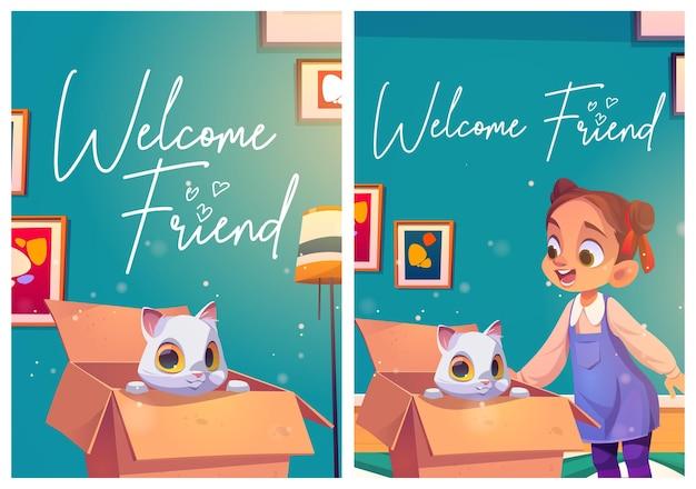 Cartazes de amigos de boas-vindas com gato na caixa e menina